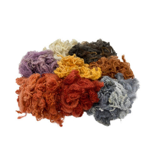 Hand Dyed Bluefaced Leicester fleece - 8 Soft Mixed Colour pack