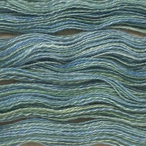 Hand-spun Wensleydale & Kid Mohair Aran (Worsted) weight 100g (3.52 oz) skein Loire shades in silver green and blue