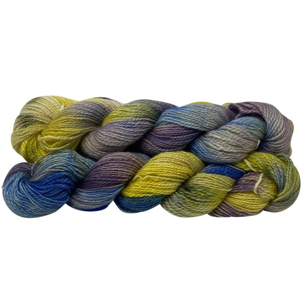 Hand-spun Wensleydale Aran (Worsted) weight 100g (3.52 oz) skein Bayeux hand-painted