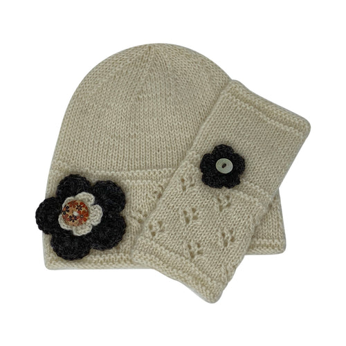Cloche hat and wristwarmer knitting kit from Home Farm Wensleydale Wool