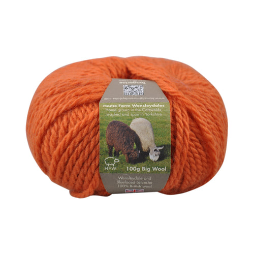 Tangerine Bulky Wool 100g (3.52 oz): Rare Breed Wensleydale and Bluefaced Leicester