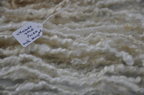 Hand spun - Lock spun Wensleydale piled with Mohair