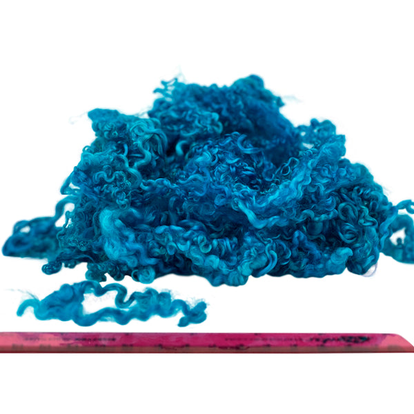Pure Wensleydale Hand Dyed Combed Top - 100g (3.53 oz) Cyan