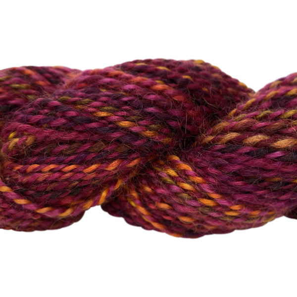 Hand-spun Wensleydale Aran (Worsted) weight 100g (3.52 oz) skein Bayeux shades in red