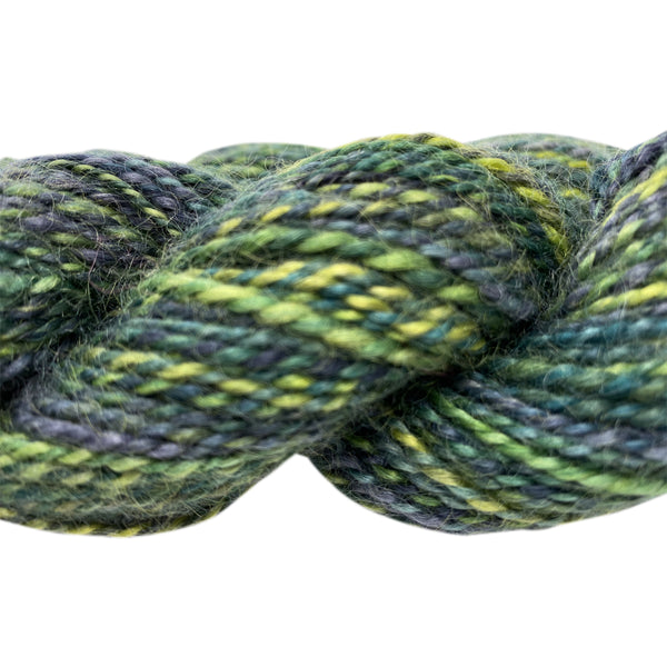 Hand-spun Wensleydale Aran (Worsted) weight 100g (3.52 oz) skein Bayeux shades in green