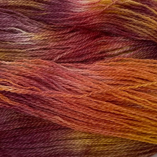 Hand-painted collection Burnt Orange Paint 4ply (Fingering/Sports Weight) 50g (1.76 oz): Rare Breed Wensleydale and Bluefaced Leicester