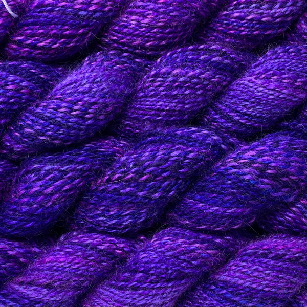 Hand-spun Wensleydale Aran (Worsted) weight 100g (3.52 oz) skein Bayeux shades in purple