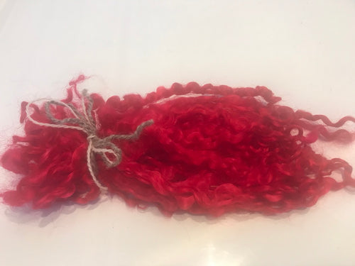 Scarlet - Pulled Wensleydale - Hand Dyed locks/fleece 15g (0.53oz)