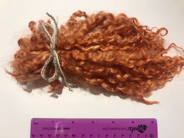 Burnt Umber - Pulled Wensleydale - Hand Dyed locks/fleece 15g (0.53oz)