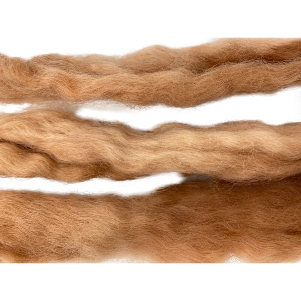 Pure Wensleydale Hand Dyed Combed Top - 100g (3.53 oz) Burnt Umber