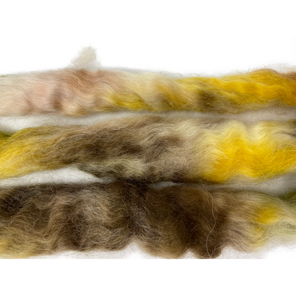 Pure Wensleydale Hand Dyed Combed Top - 100g (3.53 oz) Earth