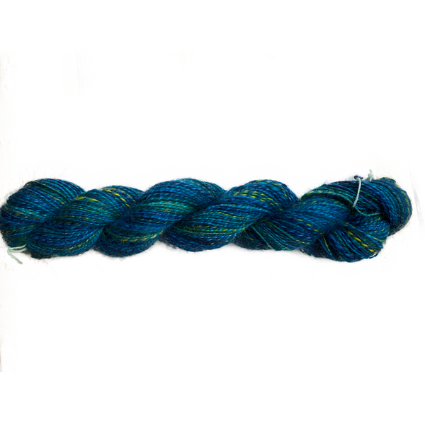 Hand-spun Wensleydale Aran (Worsted) weight 100g (3.52 oz) skein Bayeux shades in Blue and Greens