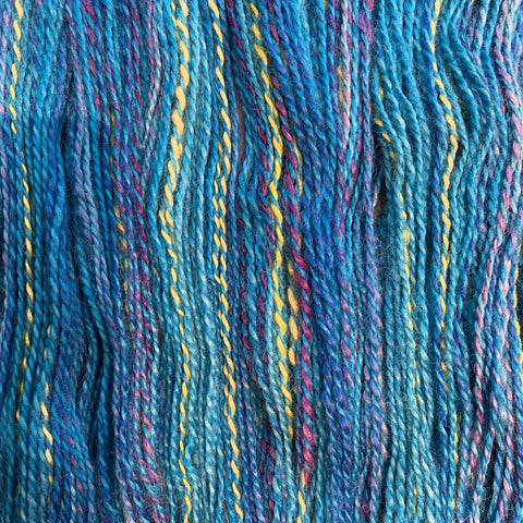 Hand-spun Wensleydale Aran (Worsted) weight 100g (3.52 oz) skein Bayeux shades in blue