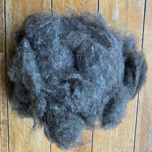 NOIL - Washed Black Wensleydale Noil - Fleece
