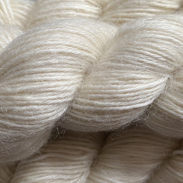 Natural DK (8 Ply/Light Worsted) 100g (3.53 oz):  Rare Breed Wensleydale and Luxury Kid Mohair