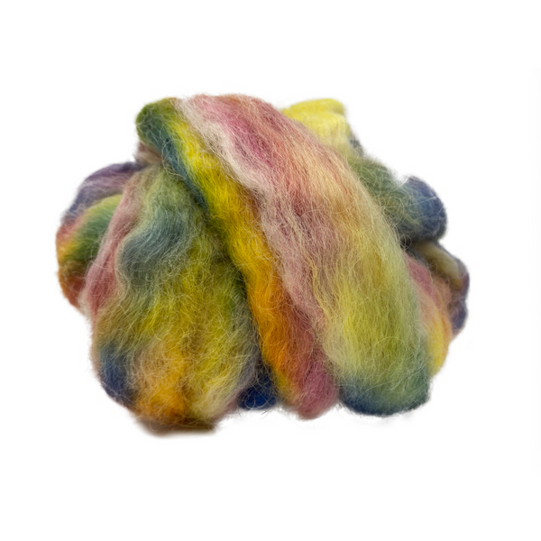 Pure Wensleydale Hand Dyed Combed Top - 100g (3.53 oz) Yellow Blush