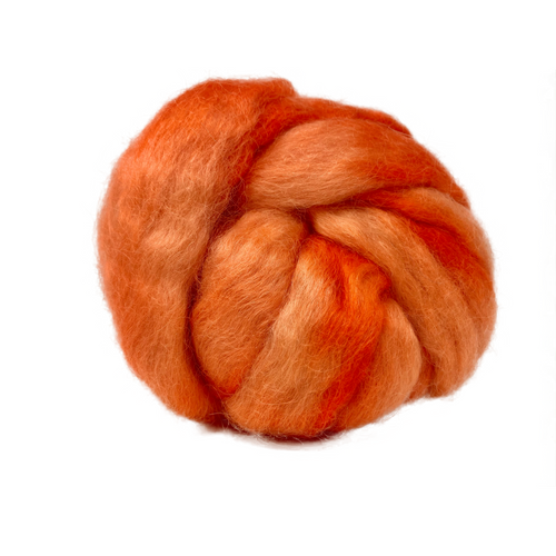 Pure Wensleydale Hand Dyed Combed Top - Orange