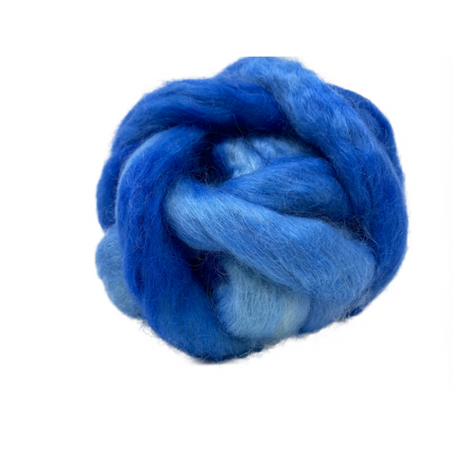 Pure Wensleydale Hand Dyed Combed Top - Ultra Marine