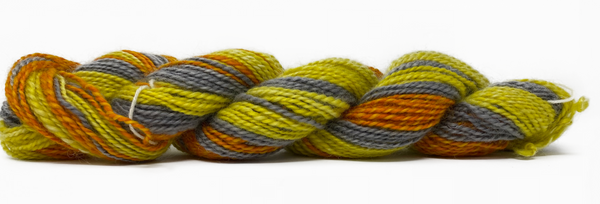 Hand-spun Wensleydale Aran (Worsted) weight 100g (3.52 oz) skein Bayeux shades in orange, yellow, grey