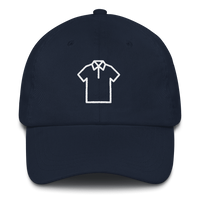 Meme.Shopping Shirt Dad Hat White Embroidered Navy