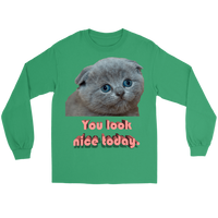 Meme.Shopping You Look Nice Longsleeve Gildan Long Sleeve Tee / Kelly Green / 5XL T-shirt