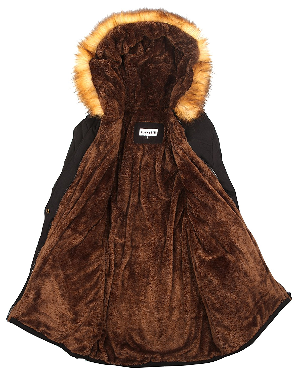 66f677abc1 ... iLoveSIA Womens Hooded Warm Coats Parkas with Faux Fur Jackets ...