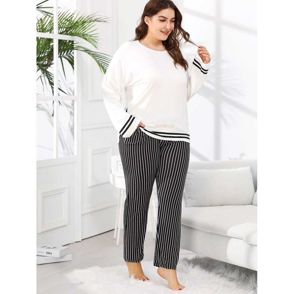 4e1637e81e99 Plus Contrast Striped Tee   Pants PJ Set – rackawear.com