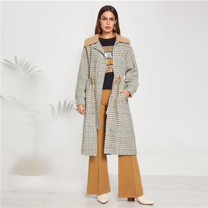 Khaki Fleece Collar Plaid Coat