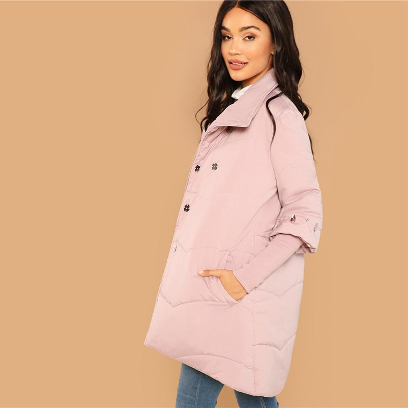 Casual High Neck Padded Button Coat