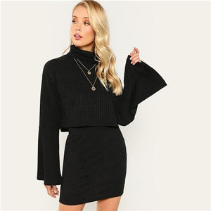 High Neck Flounce Sleeve Ribbed Knit Skinny Top & Skirt