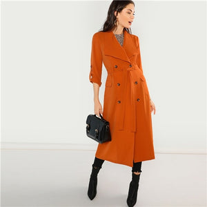 Solid Belted Waist Double Breasted Waterfall Coat