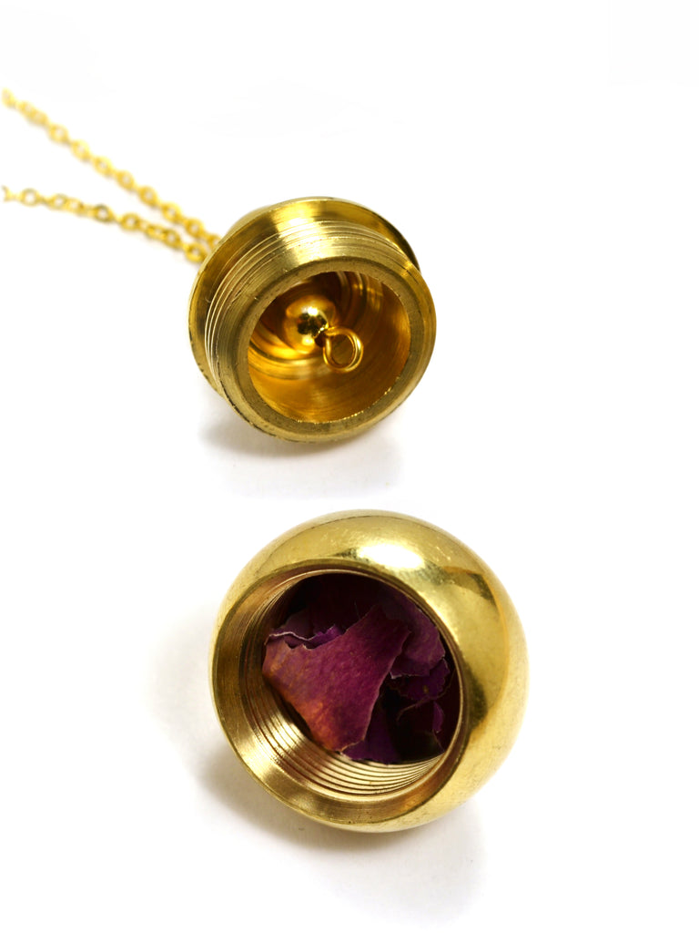 Golden Compartment Pendulum Necklace