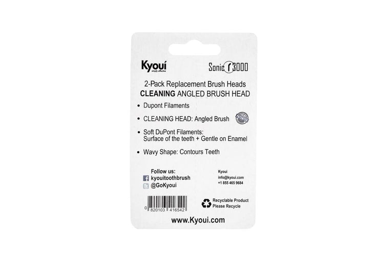 Kyoui Replacement Toothbrush Heads - DAY TIME (TEETH CLEANING) - White (Pack of 2) - Kyoui