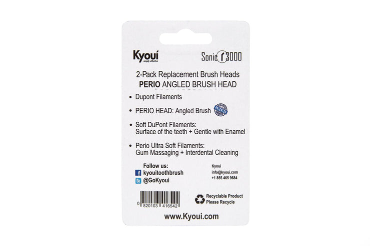 Promo - Pack of 2: 1 Perio Black + 1 Cleaning White Replacement Brush Heads