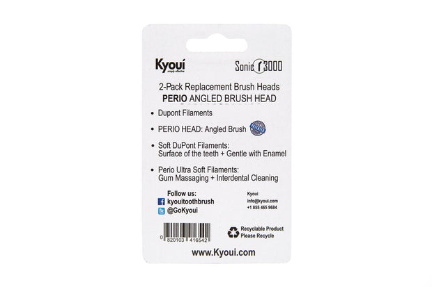 Kyoui Replacement Toothbrush Heads Perio Black+Cleaning White for Kyoui Sonic 3000 (Pack of 2) - Kyoui