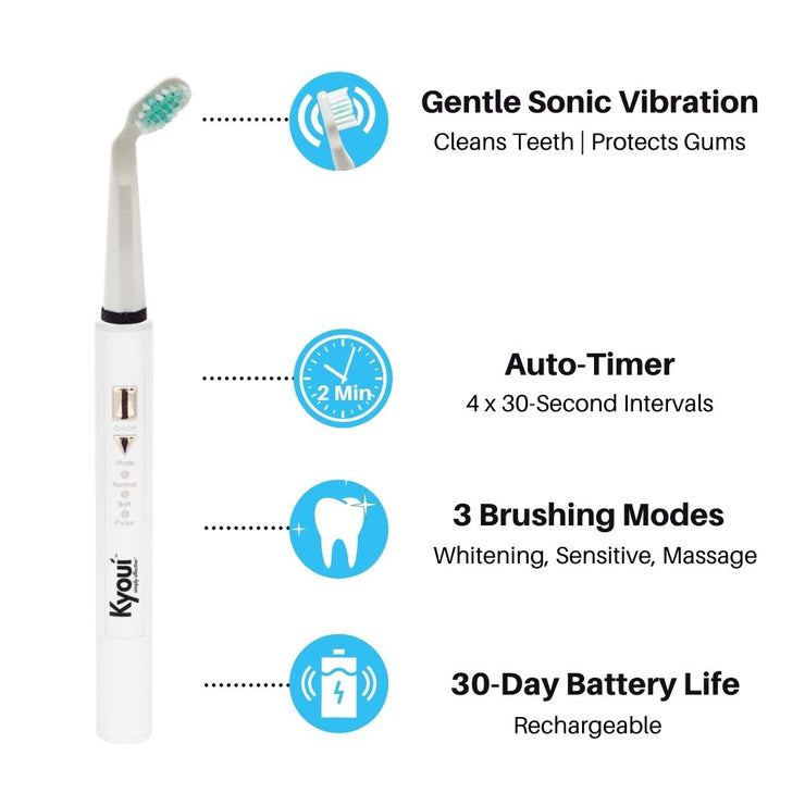 Kyoui Combo - Kyoui Sonic 3000 Electric Toothbrush + Travel Case + Pack of 2 Brush Heads