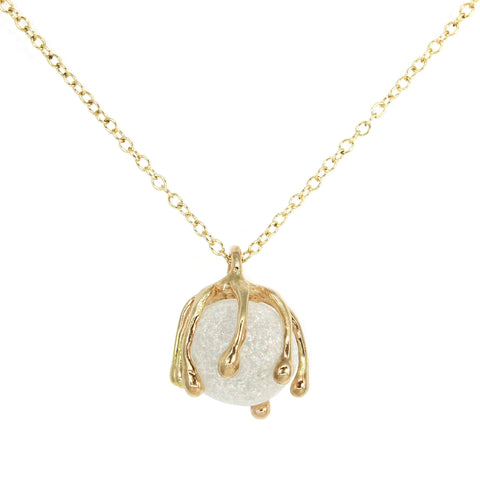 14k gold white marble sea glass 360 degree necklace