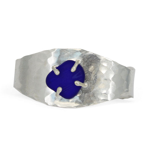 ocean wave cobalt sea glass cuff - tossed & found jewelry