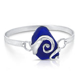 cobalt sea glass double wave bracelet - tossed & found jewelry