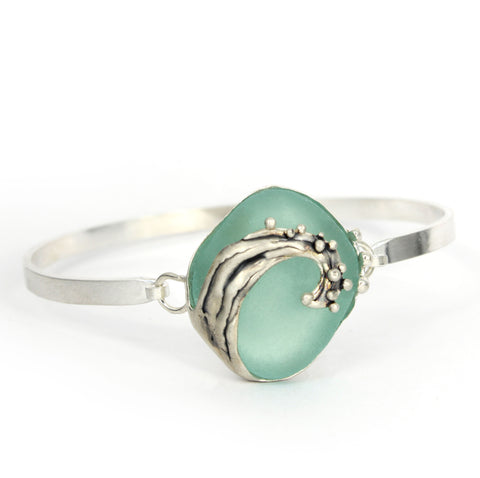 aqua sea glass oxidized wave bracelet