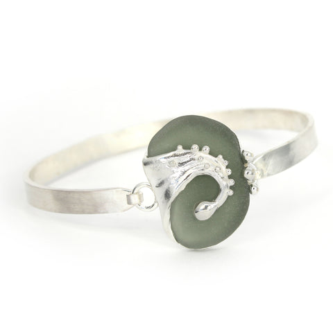 grey sea glass wave bracelet - tossed & found jewelry