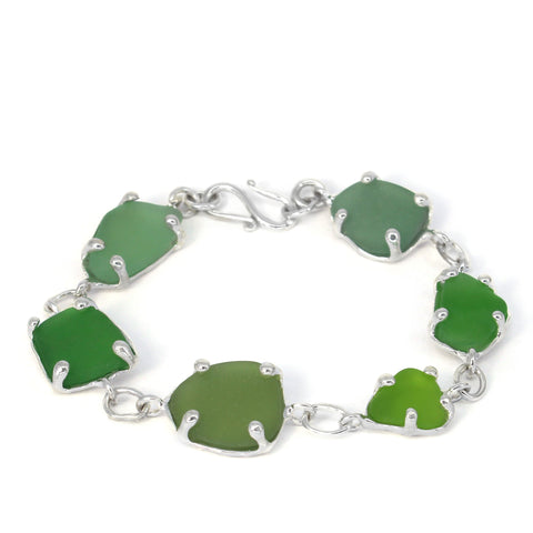 sea of greens sea glass bracelet - tossed & found jewelry