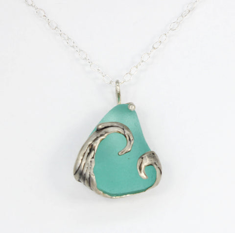 splashing wave bright turquoise sea glass necklace