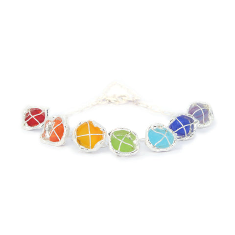 a rainbow of sea glass bracelet - tossed & found jewelry