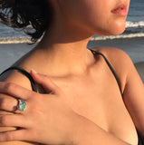 ocean wave genuine turquoise sea glass ring - tossed & found jewelry
