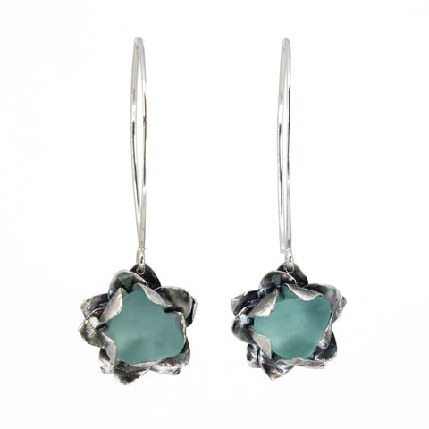 turquoise sea glass lotus in bloom earrings