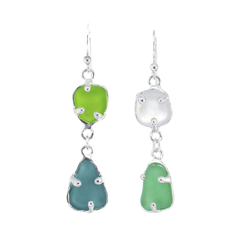 mix + match blue, green and white sea glass earrings - tossed & found jewelry