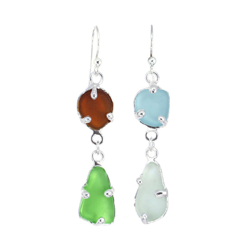 mix + match multi colored sea glass earrings - tossed & found jewelry
