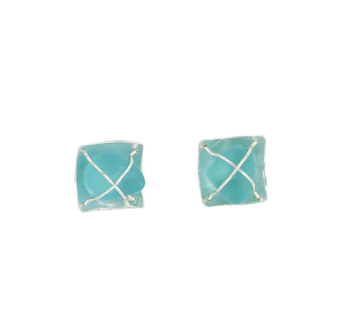 reflective deep turquoise sea glass post earrings