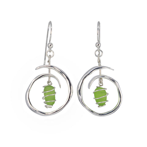 small wave coiled chartreuse sea glass earrings
